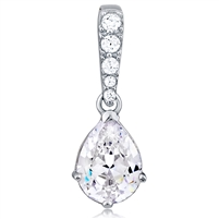 Silver Pendant Pearl Shape With CZ