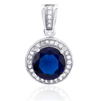 Silver Pendant With Blue and White CZ
