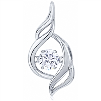 Silver Pendant With CZ Dancing Stone