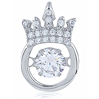 Silver Crown Pendant With CZ Dancing Stone