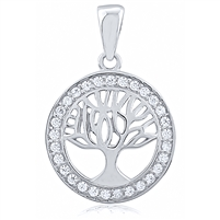 Silver Tree Of Life Pendant With CZ