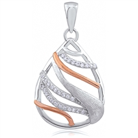 Silver Two Tone Rose Gold And Rhodium Plated Pendant With CZ