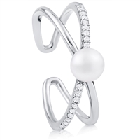 Silver  Fresh Water Pearl Ring with CZ