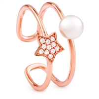 Silver Fresh Water Pearl Rose Gold Plated Ring With CZ
