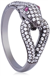 Silver Ring with Black Rhodium Micro Set Cubic Zirconia