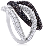 Silver Ring with Black & White Cubic Zirconia