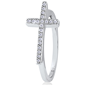 Silver Cross Ring with Cubic Zirconia