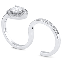 Adjustable Double Finger Silver Ring with CZ