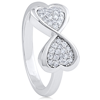 Silver Infinity Heart Ring with Cubic Zirconia