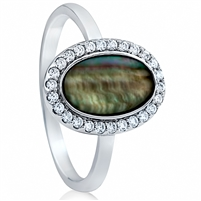 Silver Ring with Cubic Zirconia And Mother of Pearl