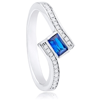 Silver Ring with Blue Cubic Zirconia Stone