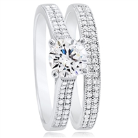 Silver Wedding Band Engagement Ring Set with Micro set CZ