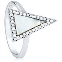 Silver Triangle Ring With CZ and Mother Of Pearl