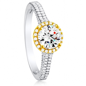 Silver Ring With Yellow and White CZ
