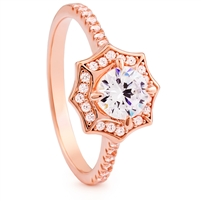 Silver Ring with Rose Gold Plated and CZ