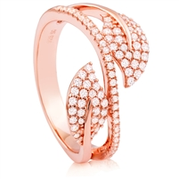 Silver Leaf Rose Gold Plated Ring with CZ