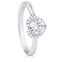 Silver Heart Ring with CZ