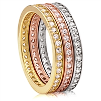Silver Tri-Color Stackable Eternity Band Ring Set with CZ