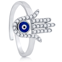 Silver Evil Eye Ring with CZ