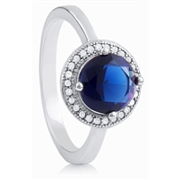Silver Ring with Blue CZ Stone