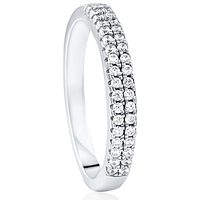 Silver Half Eternity Wedding Band Ring With CZ