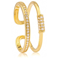 Silver Gold Plated Open Ring with CZ