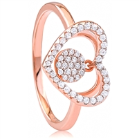 Silver Heart Rose Gold Plated Ring with CZ
