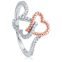 Silver Double Heart Rose Gold Plated Ring with CZ