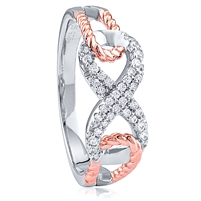 Silver Infinity Rose Gold Plated Ring with CZ