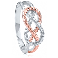 Silver Rose Gold Plated Ring with CZ