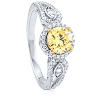Silver Halo Ring With Yellow Center CZ And White CZ