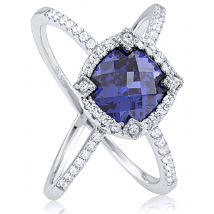 Silver Ring with Blue CZ Checkerboard Cut And White CZ