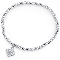 Silver Stretchy Beaded Bracelet with Clover Charm and CZ