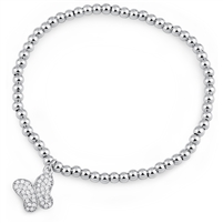 Silver Stretchy Beaded Bracelet with Butterfly Charm and CZ