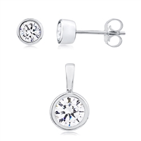 Silver Stud Earring And Pendant Set With CZ