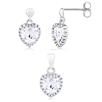 Silver Hear Earring And Pendant Set With CZ