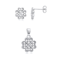 Silver Earring And Pendant Four Leaf Clover Set with CZ