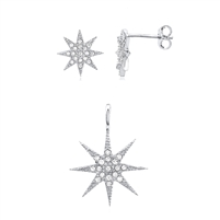 Silver Earring And Pendant Star Set with CZ