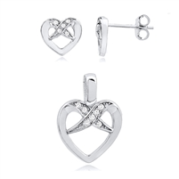 Silver Earring And Pendant Heart Set with CZ