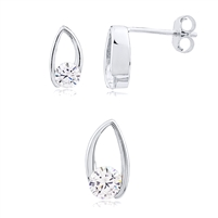 Silver Earring And Pendant Set with CZ