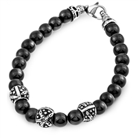 Stainless Steel And Black Onyx Bracelet With Lobster Clasp Skull