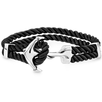 Stainless Steel And Braided Silk Bracelet- Anchor Clasp Lock