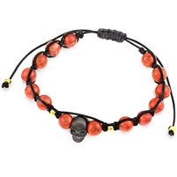 Adjustable Red Agatha Beads Bracelet With Stainless Steel Skull