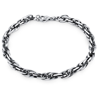 Stainless Steel Twist Figaro Curb Bracelet