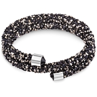 Swarovski Crystals Swarovski Crystals Double Bangle -Black and Hematite. The End Metal is Stainless Steel Rhodium Plated