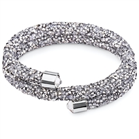 Swarovski Crystals Bangle Double Grey. The End Metal is Stainless Steel Rhodium Plated