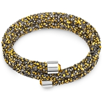 Swarovski Crystals Double Bangle - Gold And Grey. The End Metal is Stainless Steel Rhodium Plated