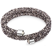 Swarovski Crystals Bangle Double Hematite. The End Metal is Stainless Steel Rhodium Plated