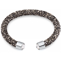 Swarovski Crystals Bangle Cuff - Black And Hematite. The End Metal is Stainless Steel Rhodium Plated