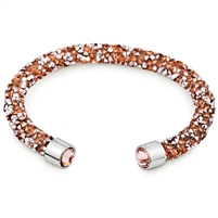 Swarovski Crystals Bangle Cuff Rose Gold. The End Metal is Stainless Steel Rhodium Plated